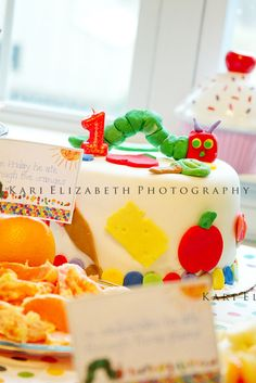 Lovely Very Hungry Caterpillar cake