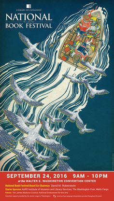 2016 Library of Congress National Book Festival Poster. Poster Artist: Yuko Shimizu.