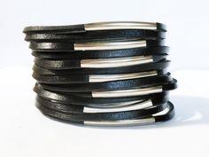 Black Stiped Vegan Leather Cuff Bracelet Black by MoodTherapy, $19.95