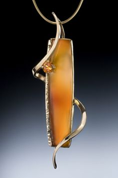 14K pendant with carnelian and spessartite garnet.