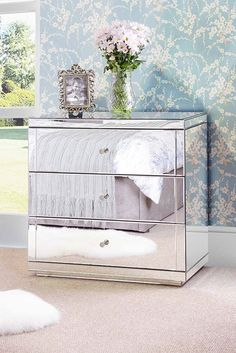 FLAVIA Mirrored Low Chest with 3 Drawers and Plinth