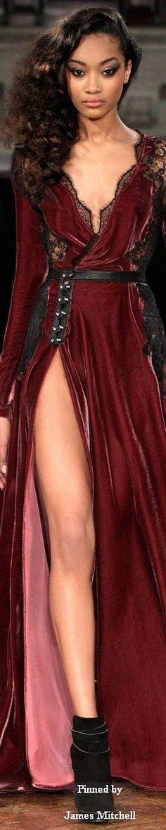 Kristian Aadnevik ~ Fall Burgundy Velvet Gown w Sweetheart Neck+Black Lace detail + Front Split 2014