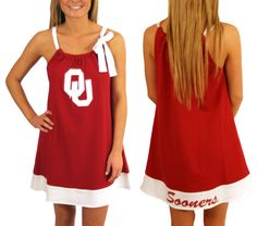 """Oklahoma - Tie Neck Dress ~ I was a little hesitant to order this because my twins closet is FILLED with """"pillowcase"""" dresses. But, I ordered it and we did a family picture in our OU attire, also which is overflowing out of every closet in our home, and it was so cute!!!"""