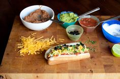7-Layer Dip Hot Dog-to veganize sub with field roast hot dogs & daiya pepper jack cheese