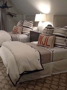 Love this boys bedroom. Perfect for brothers or for an extra bed for a sleepover. interior design, pillow, kid bedrooms, boy bedrooms, monogram, kid rooms, boy rooms, twin beds, guest rooms