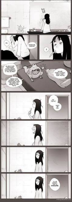 "ferociousfae: "" mechanical-leo: "" dreaminglestrade: "" Teef by Endling "" This is my favorite comic ever. "" I want teef like this. Funny Shit, Funny Cute, The Funny, Funny Memes, Puns Hilarious, Funny Videos, Funny Stuff, Comics Story, Bd Comics"