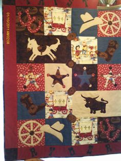 inspiration: Cowboy/cowgirl themed baby quilt. $300.00, via Etsy. (I'd change it a little and make it a Sooners quilt)