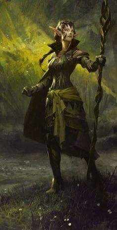Female elf with staff - sorcerer / druid Nissa the Elf RPG character inspiration Dark Fantasy, Fantasy Rpg, Medieval Fantasy, Fantasy Makeup, Fantasy Warrior, Fantasy Races, Elfa, Fantasy Artwork, Character Portraits