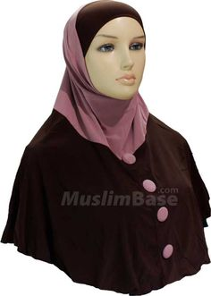 Two Piece Hijab - Buttoned Look - PaleVioletRed and Black http://www.muslimbase.com/clothing/hijabs/two-piece-hijab/piece-hijab-buttoned-look-palevioletred-black-p-8756.html