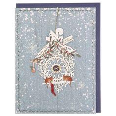 Laser-cut clock Christmas card