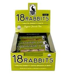 18 Rabbits Haute Diggity Date, Organic Granola Bar. Bonus: certified organic by CCOF! Date Granola Bars, Date Bars, Low Sodium Snacks, Organic Food Delivery, Healthy Snack Bars, Rabbit Eating, Bar Set, Organic Recipes, Rabbits