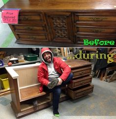 Before and during photo of a credenza upcycle project