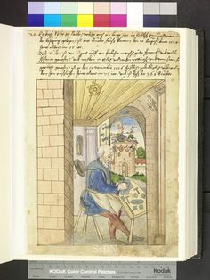 """Amb. 317b.2° Folio 9 recto """"the brother sits at his work table and polishes on the anvil of a needle. are willing needles, a venal and two small hammers. in the wall niche of the open chamber is a vase, on the ceiling hangs a stuffed bird. """""""