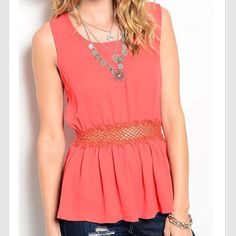 Sale - Top NO additional discounts - price reflects sale ‼️Sleeveless crochet trim solid top in Orange -Small (2/4) Medium (6/8) Large (10/12) - PRICE is firm no trades. Thank you  Tops