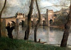 The Bridge at Nantes: 1868-1870 by Jean Baptiste Camille Corot (Musee du Louvre, Paris, France) - Barbizon School/Realism