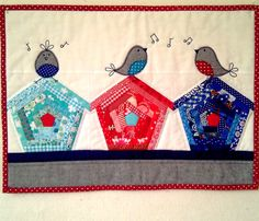 "mini quilt -- today's obviously a ""pin cute birds"" day                                                                                                                                                                                 More"