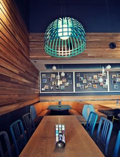 poloroid on premises Teal, stripped back, contemporary industrial, shade, dining space, restaurant