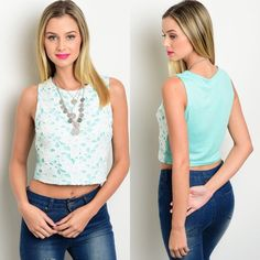 Mint & White Crochet Lace Appliqué Crop Top New sleeveless crochet top with cropped hem. It is a beautiful mint color with white appliqué style crochet overlay on the front. Available in S & M, with only 1 M left.                                                    75% cotton, 25% polyester Boutique Tops Crop Tops