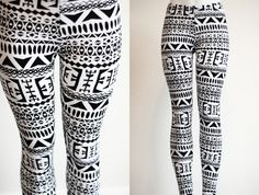 Tribal Womens Aztec mayan print pattern black and white Leggings Tights on Etsy, $28.00