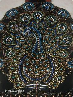 Botellas de pintura elementos de decoración de cristal de pavo real pintado pintura Foto 4