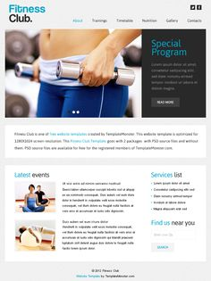 Add the vibe to your project based on this stylish theme - Free Website Template with jQuery Slider for Fitness Club! Free Web Design, Web Design Tips, Site Model, Best Weight Loss, Lose Weight, Sports Templates, Psd Templates, Jquery Slider, Free Website Templates