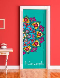 4 Hall doors, 4 different patterns. I like this idea. Wall Art Designs, Paint Designs, Wall Design, Mandala Design, Mandala Art, Wall Painting Decor, Wall Paintings, Wall Drawing, Home And Deco