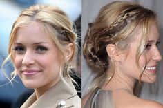Kristin Cavallari's braided low chignon hairstyle with curled face-framing strands