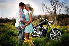A.S.W. Engagements: Springtime Engagement Photo Shoot Props: The couple's motorcycle ©Copyright Amber S. Wallace Photography