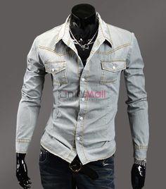 Fashion Men Single-breasted Luxury Denim Long Sleeve Slim Casual Shirt $7.34 on 78.51% off