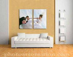 2-pice canvas wall art from wedding photo split on two panels