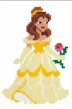 Belle Beauty and the Beast Hama Beads Perler Bead Templates, Diy Perler Beads, Pearler Bead Patterns, Perler Bead Art, Perler Patterns, Pearler Beads, Fuse Beads, Beaded Cross Stitch, Cross Stitch Patterns