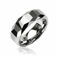Tungsten Carbide Ring With Trapezoid Prism with Cutting Edges Design Wholesale Body Jewelry, Gold Body Jewellery, Commitment Rings, Tungsten Carbide Rings, Couple Rings, Steel Jewelry, Wedding Ring Bands, Fit, Rings For Men