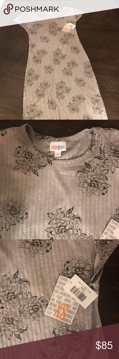 Xs Lularoe Maria gray with black flowers BNWT highly sought after pattern. I bought this because I love the pattern but the XS is too big. These run big. LuLaRoe Dresses Maxi
