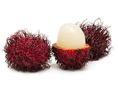 """Rambutan: Although this Malaysian fruit looks intimidating, its purplish bristles are actually quite soft, and the skin is easily peeled by hand. The interior, which looks like """"a jellyfish surrounding a large, woody pit,"""" has a """"delicate berry flavor,"""" a """"mild tartness,"""" and a texture reminiscent of """"gummy bears."""" Look for brightly colored, fragrant fruit with intact bristles. Peel and eat raw."""