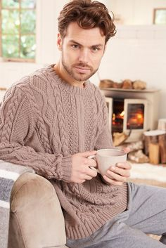 Knitted men's cable jumper
