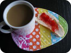 Stripey Egg Mug Rug Tutorial - A cute and eco-happy alternative to a napkin!