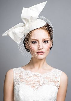 0052b2e81b4 R1420 - Silk taffeta teardrop with standing bow and face veil Bridal  Headdress