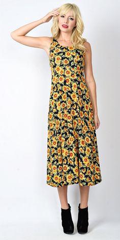 83f3036206530 Vintage 80s 90s Black Yellow Sunflower Grunge Dress Dolly Midi Floral Boho  S M