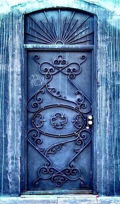 Artsy blue door in Los Angeles, California.
