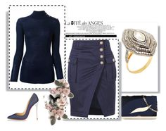 """Outfit # 1940"" by miriam83 ❤ liked on Polyvore featuring Balmain, Victoria Beckham, Christian Louboutin and Amrapali"