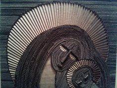 Ikona z tektury 3 - 7, cardboard, Obraz z tektury, obraz z kartonu, cardboard painting; #sztuka #art #cardboard #zkartonu