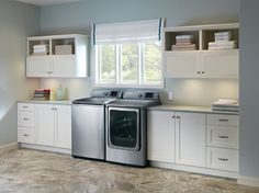 Love the tabletop to the right of the dryer.....Top Load Washer - contemporary - laundry room - other metro - Samsung