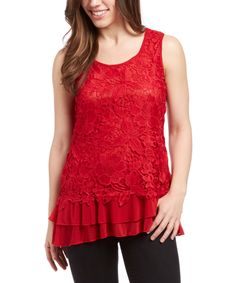 Look at this Simply Irresistible Red Lace Tank on #zulily today!