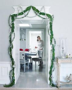 Trio of Magnolia, Pine and Silver Christmas Garlands!  What a statement.  Martha Stewart Website