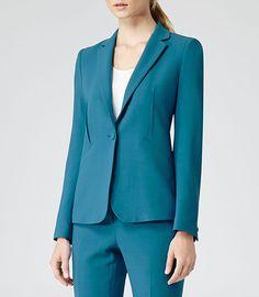 Womens Turkish Blue One Button Blazer - Reiss Dane