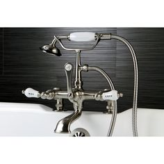 Kingston Deck-mount Satin Clawfoot Tub Faucet with Hand Shower