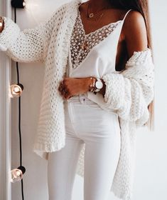 Chellysun White Chunky Casual Cardigan Sweater knits outfits for fall and winter boyfriend style for women White Jeans outfit Spring outfits summer outfits school Fashion Mode, Look Fashion, Winter Fashion, Fashion Trends, Ladies Fashion, Fashion Ideas, Feminine Fashion, Classy Womens Fashion, Fashion Spring