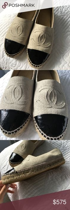 PRICE DROP (2Hrs!) Authentic Chanel Espadrilles Authentic Chanel espadrilles in light beige. Originally purchased from Saks and will work with potential buyers to prove authenticity. I only wore them a few times and they look brand new. They also are hard to get on so, you have to go about a size up, which is typical for Chanel (great for those of you who are typically a size 9.5/10). Comes with dust bag, box, and care instructions. CHANEL Shoes Espadrilles