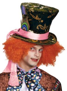 Fancy Dress Deluxe Alice Mad Hatter Gold Floral Top Hat With Orange Crazy Hair