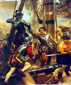 Francis Drake boarding a Spanish galleon